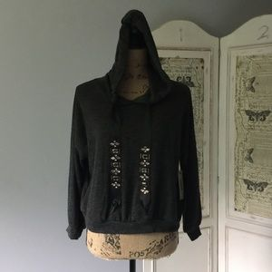 Tresics Cropped Hoodie with Embellished Ties NWT